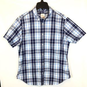 Gap Lived-In Button Down Blue Plaid Shirt - Large